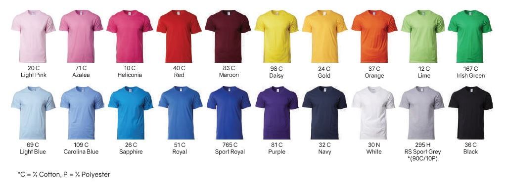 Gildan 76000B Youths Kids Tshirt Colour Chart